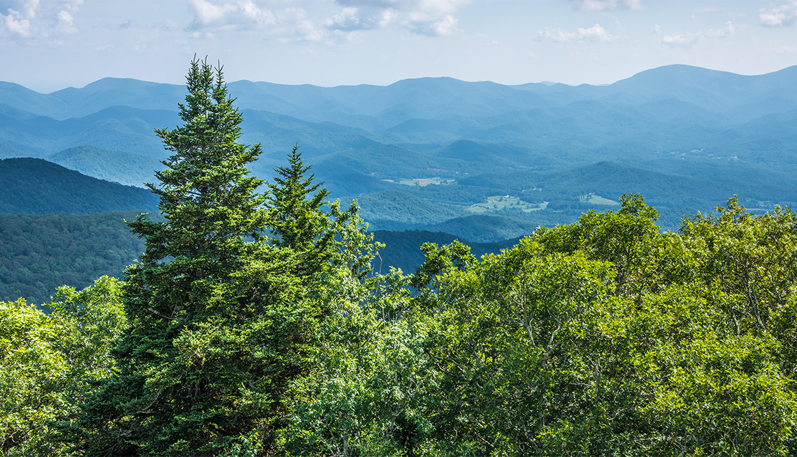 view of the Blue Ridge Mountains of North Georgia from Brasstown Bald near Blairsville, Georgia