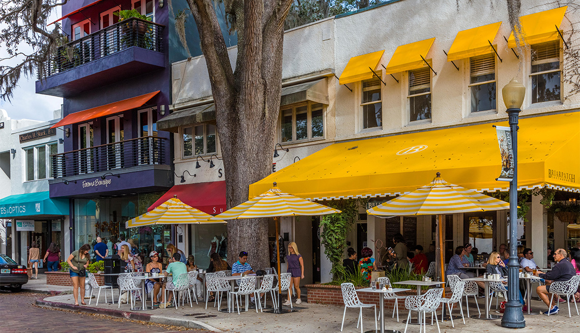 Outdoor cafe on Park Avenue in Winter Park Florida
