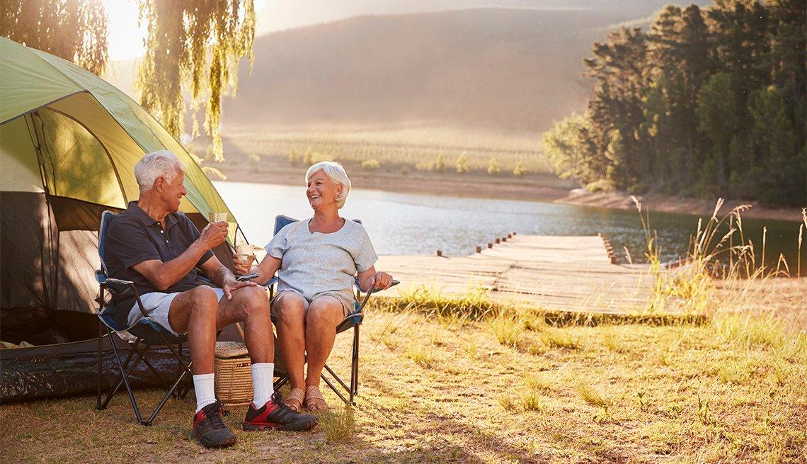 couple enjoying camping vacation