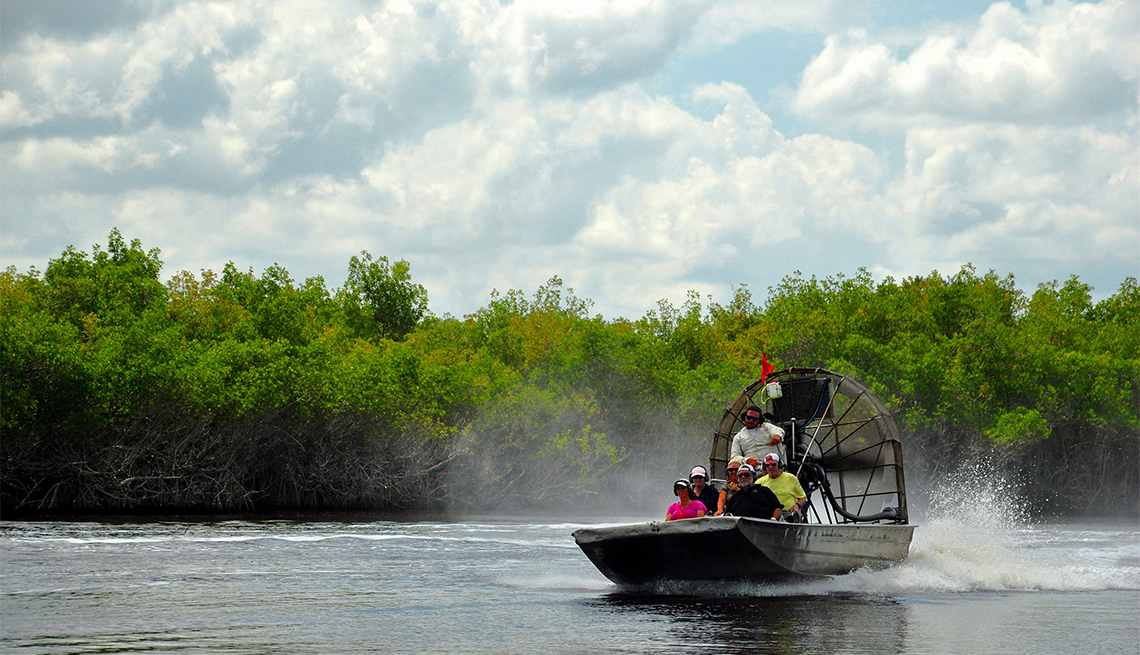 item 2 of Gallery image - Airboat skims over the Florida Everglades