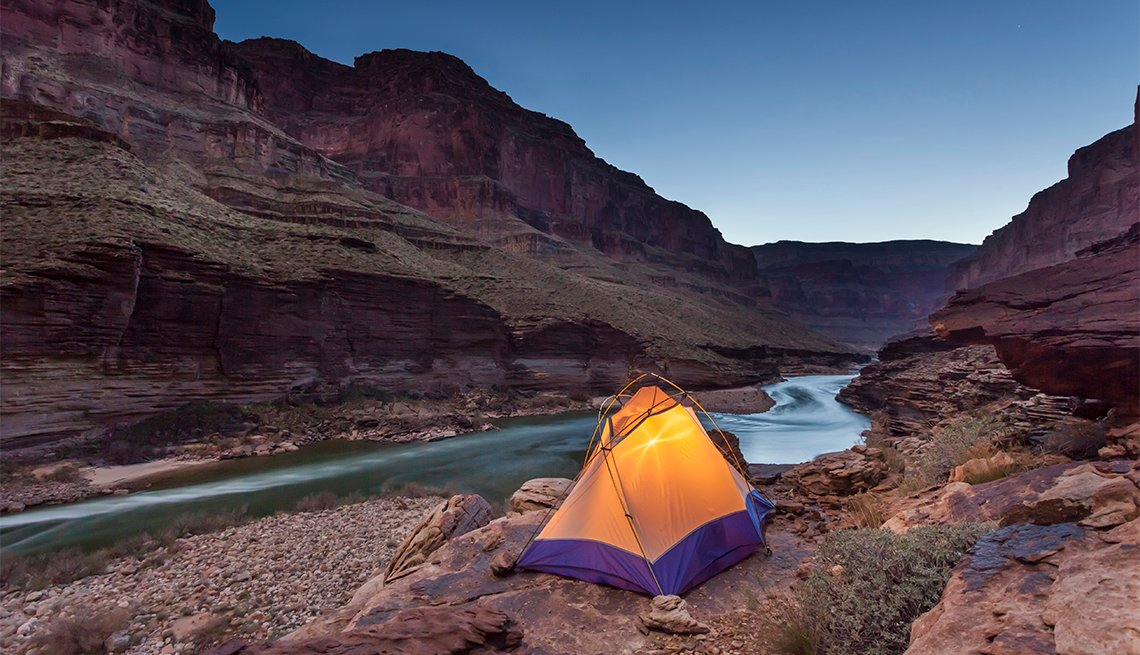 item 3 of Gallery image - Tented camp on a ledge above Blacktail camp along the Colorad River, Grand Canyon National Park