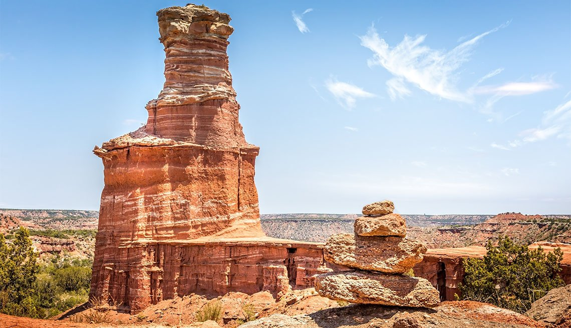 The famous Lighthouse Rock and a stone pile at Palo Duro Canyon State Park