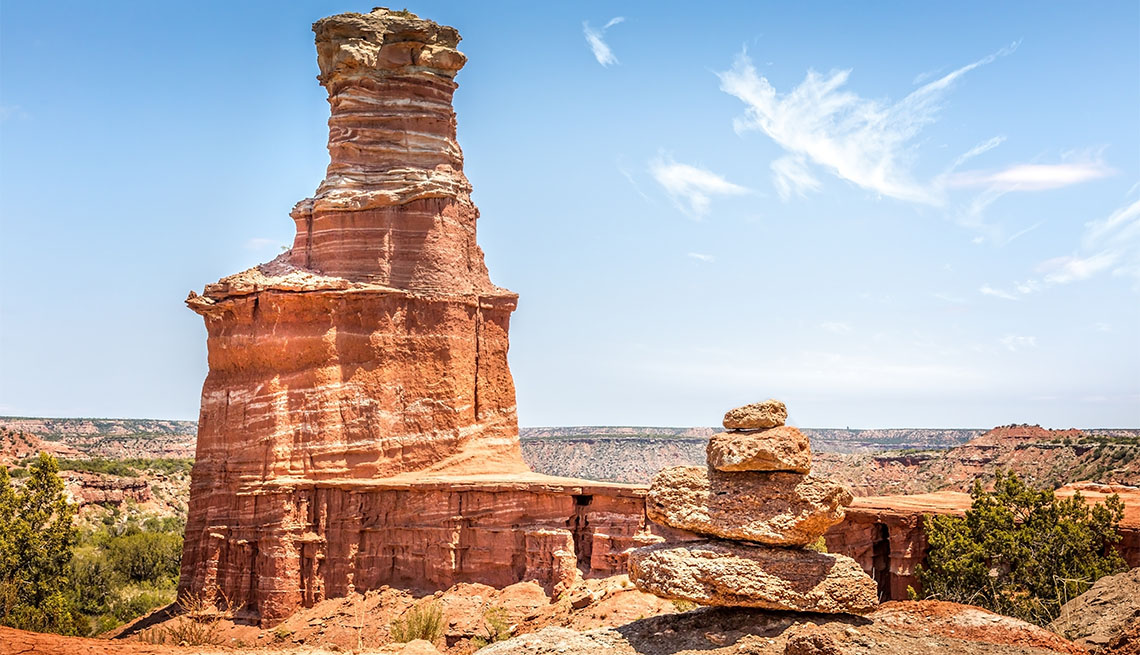 item 7 of Gallery image - The famous Lighthouse Rock and a stone pile at Palo Duro Canyon State Park