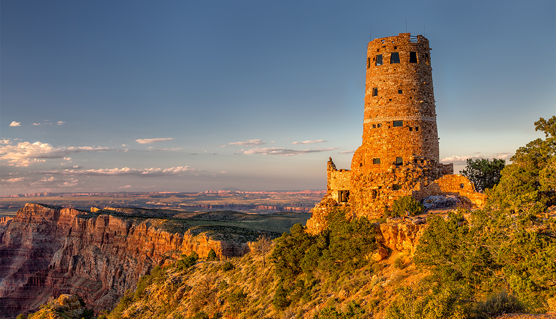 item 8 of Gallery image - Desert View Watchtower Glowing in Golden Light in Grand Canyon along the South Rim