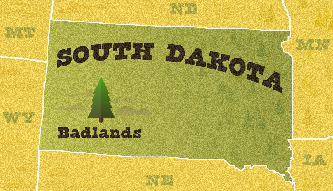 Mapa ilustrado de Dakota del Sur que muestra la ubicación del Parque Nacional Badlands