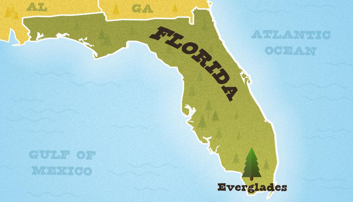 Mapa de Florida que muestra la ubicación aproximada del Parque Nacional Everglades