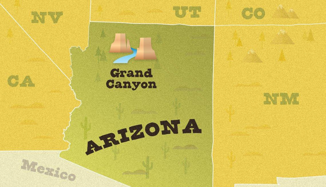 Mapa ubica el Parque Nacional del Gran Cañón en Arizona