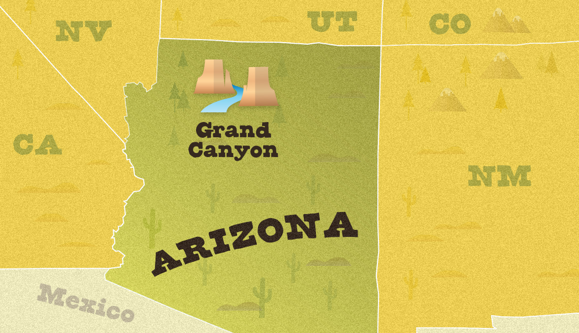 map of arizona area showing the approximate location of grand canyon national park