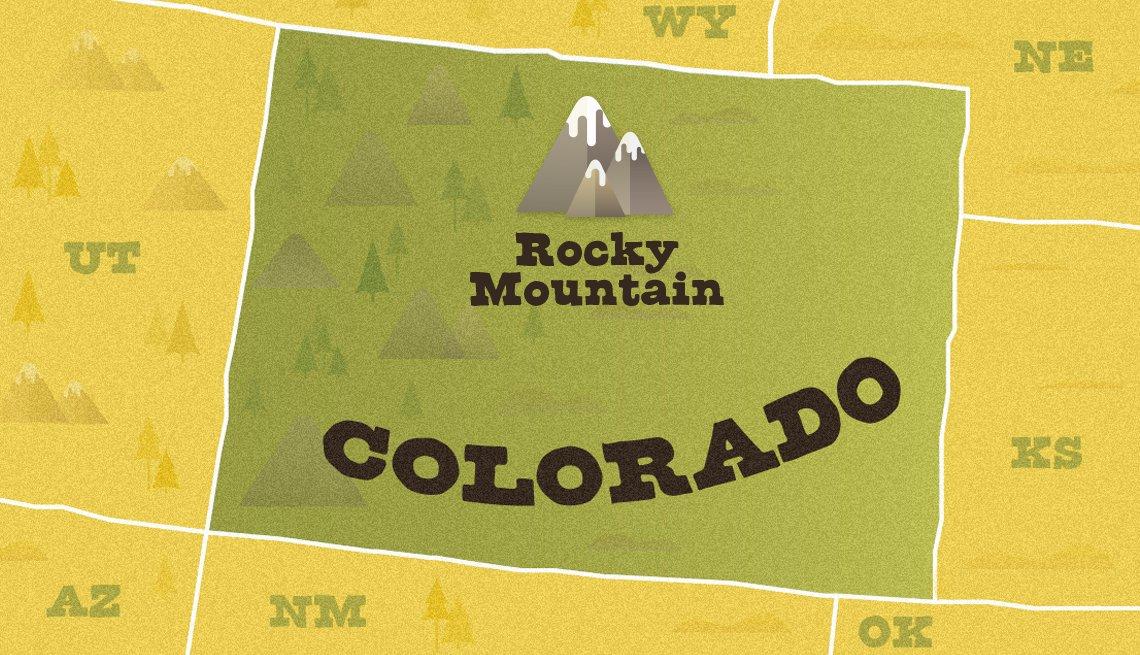 Mapa ilustrado de Colorado que muestra la ubicación del Rocky Mountain National Park