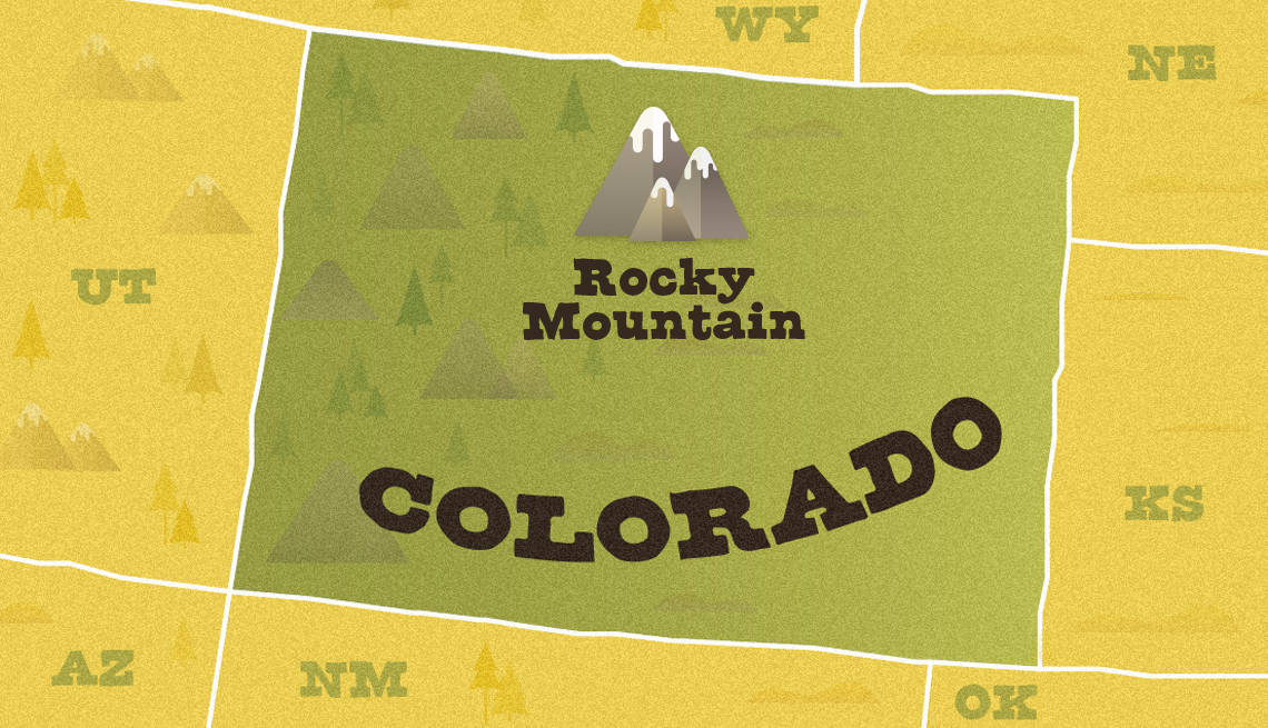 illustrated map of colorado showing approximate location of rocky mountain national park