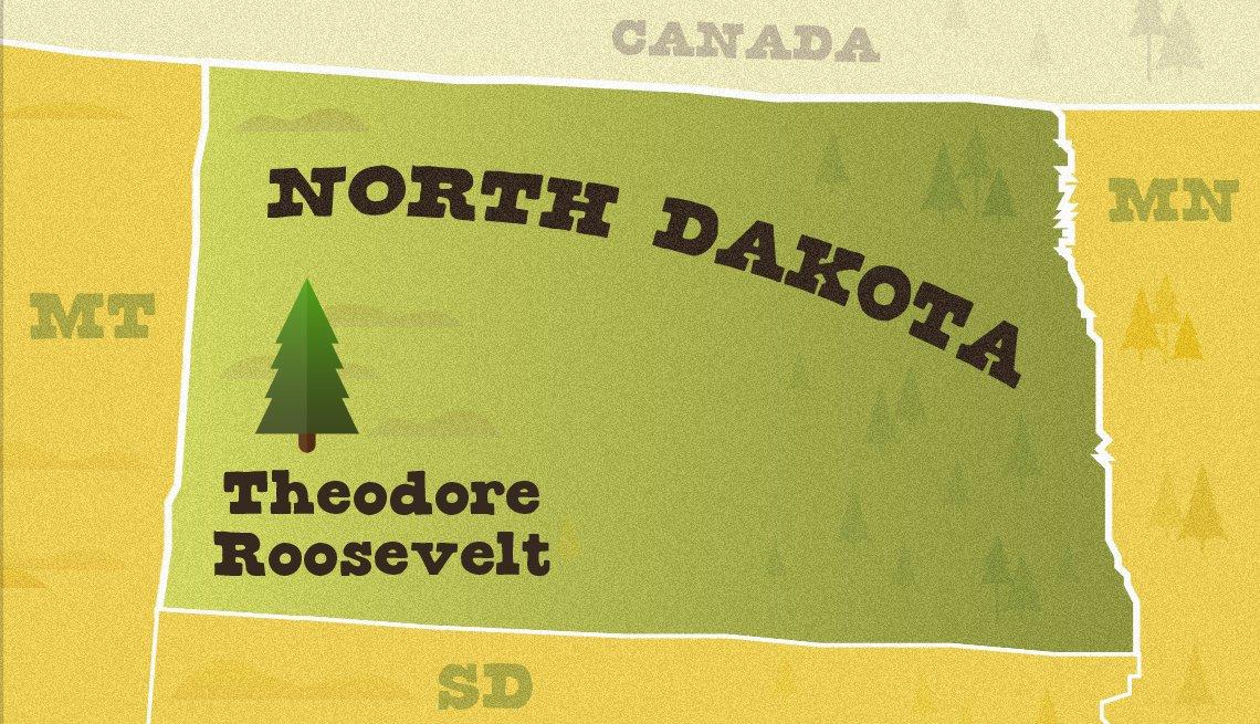 Mapa ilustrado de Dakota del Norte y ubicación del Theodore Roosevelt National Park