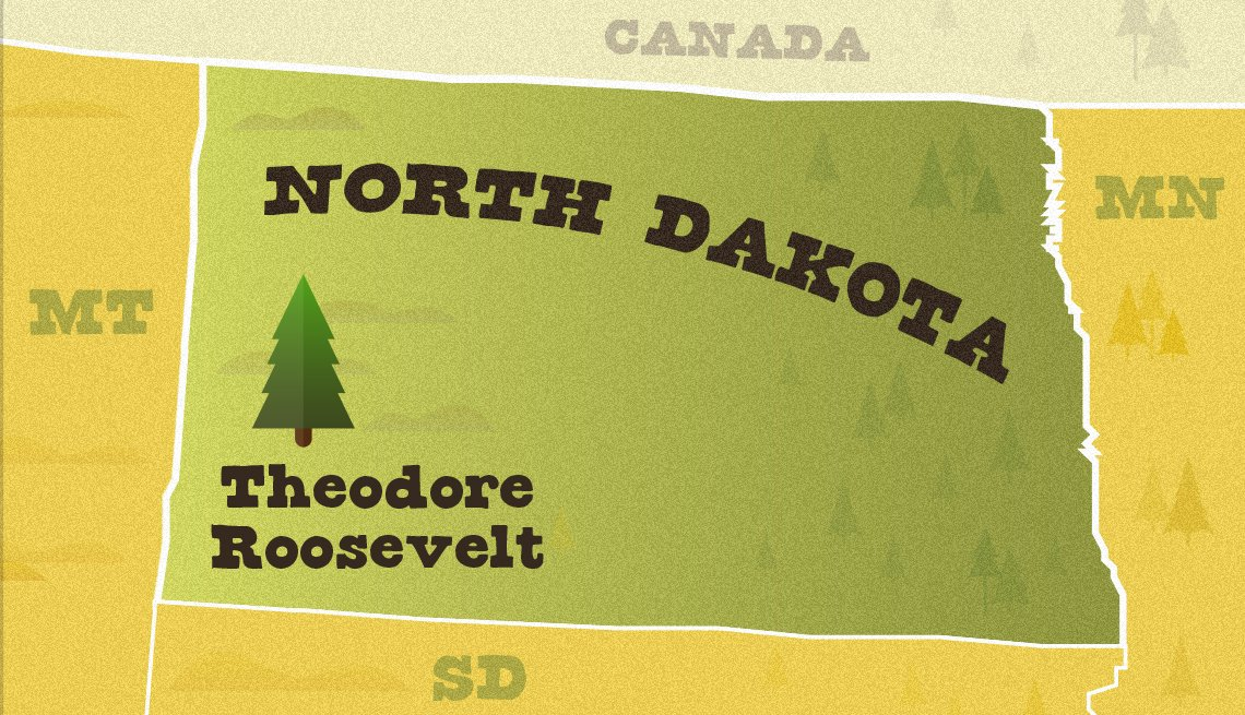 illustrated map of north dakota and location of theodore roosevelt national park