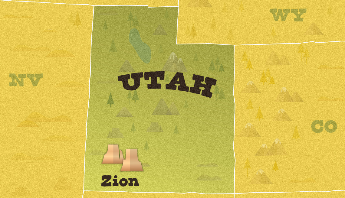 illustrated map of utah showing the approximate location of zion national parl