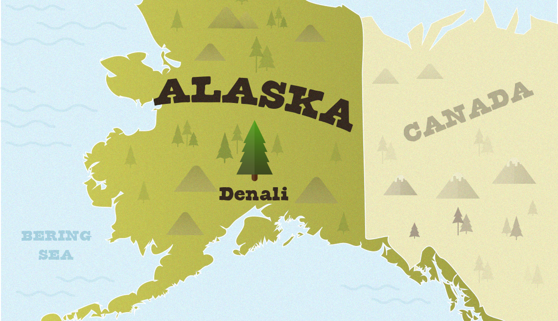 map showing where denali national park is in alaska