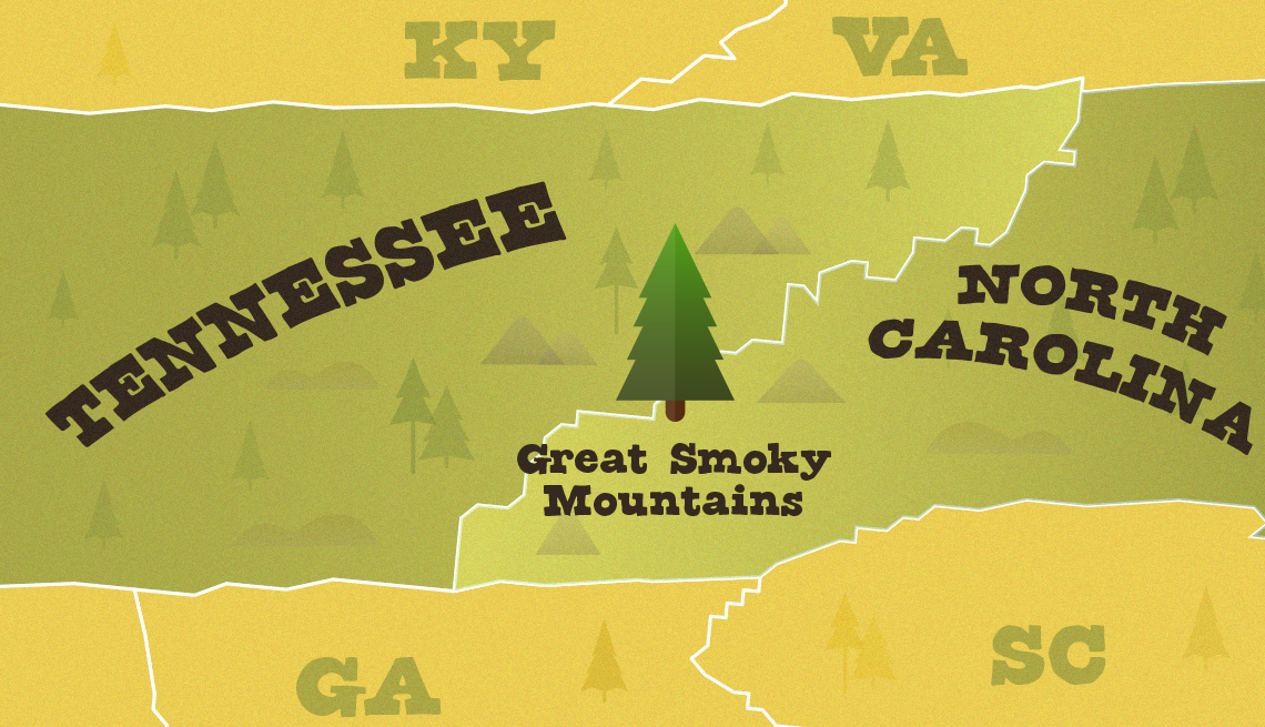 Mapa de Tennessee muestra la ubicación del Parque Nacional de las Grandes Montañas Humeantes