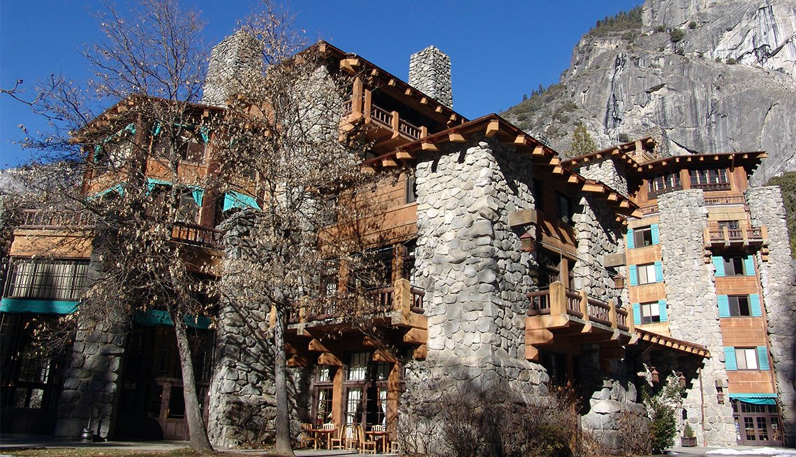 item 5 of Gallery image - A winter picture of the famous AhWahnee Hotel in Yosemite