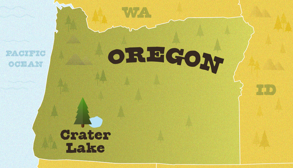 map of oregon showing the approximate location of crate lake national park