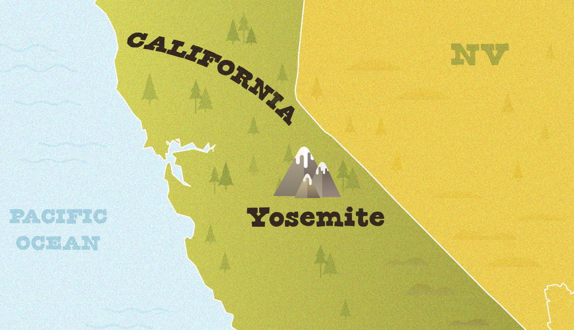 map closeup of california showing approximate location of yosemite national park
