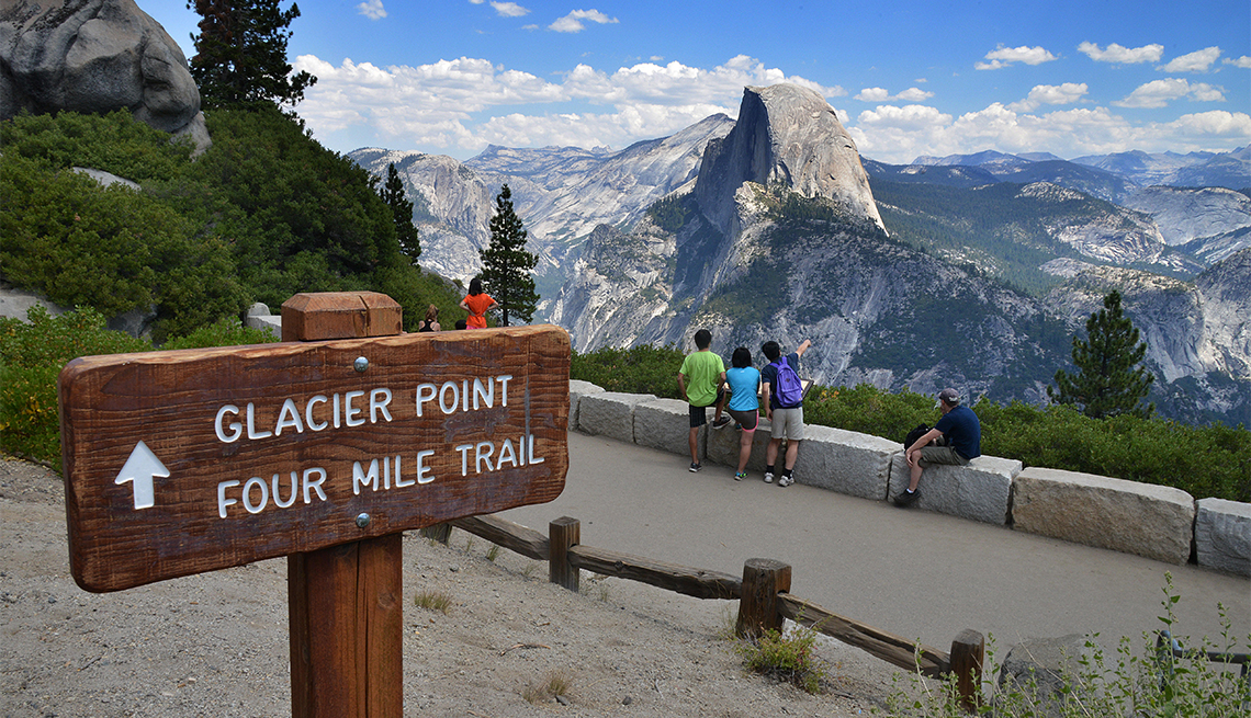 item 7 of Gallery image - tourists at Glacier Point Four Mile Trail