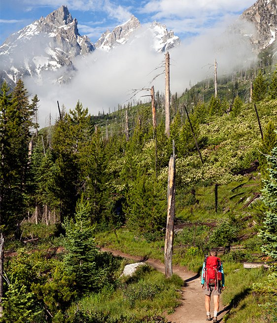 Hiker on the Cascade Canyon Trail in Grand Teton National Park