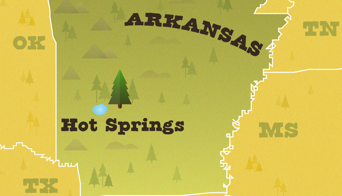 locator map of arkansas with the location of hot springs national park highlighted