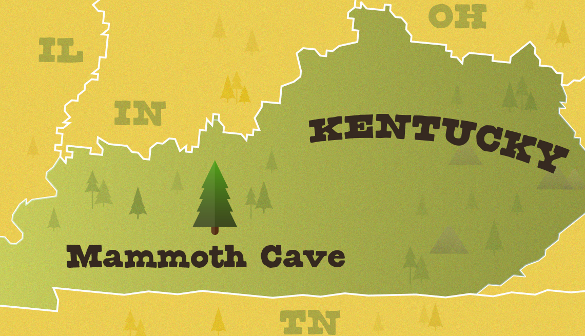 locator map of the state of kentucky with the location of mammoth cave national park highlighted