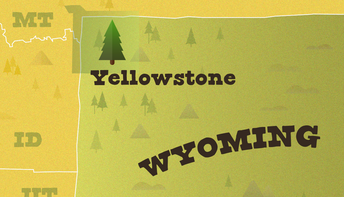 map of wyoming with yellowstone national park location marked