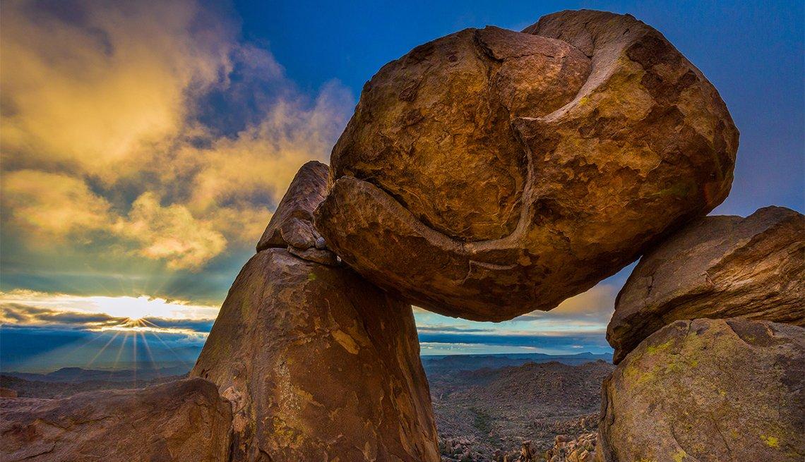 Balancing rock at sunset