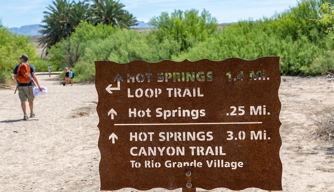 sign showing hiking trails at Big Bend National Park