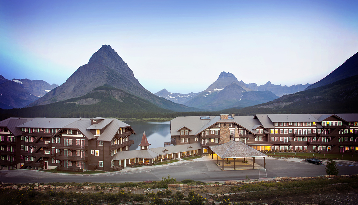 item 2 of Gallery image - Panoramic view of the historic Many Glacier Hotel