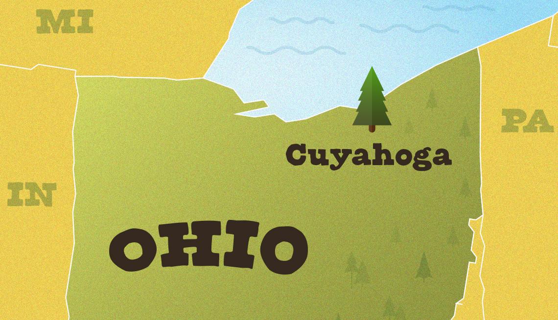 Mapa muestra la ubicación del Parque Nacional Valle Cuyahoga de Ohio