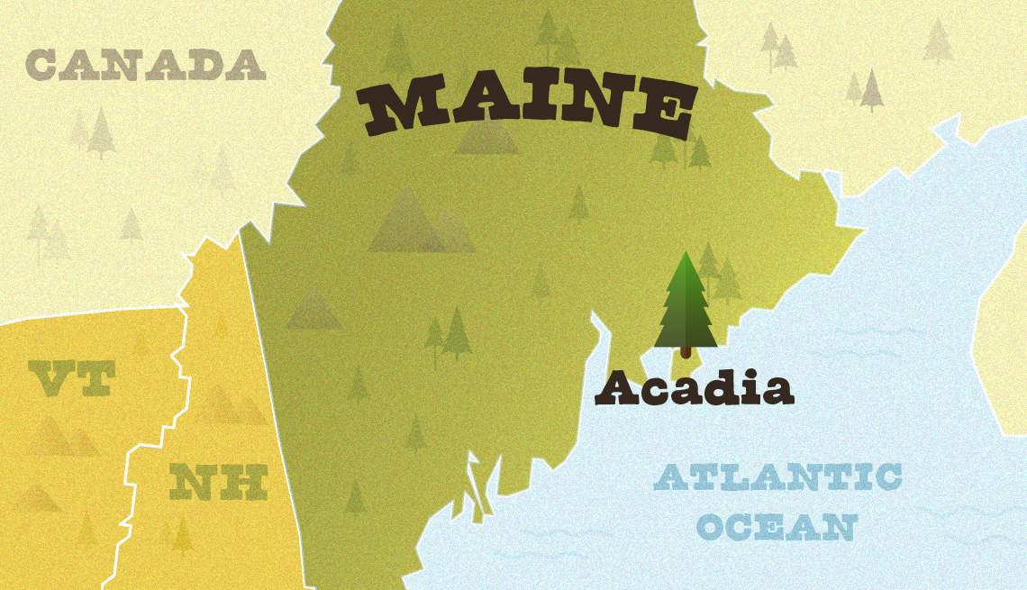 Mapa muestra la ubicación del Acadia National Park