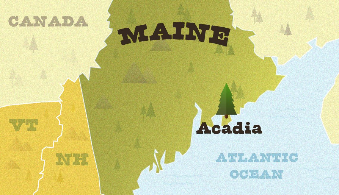 locator map of maine showing where acadia national park is