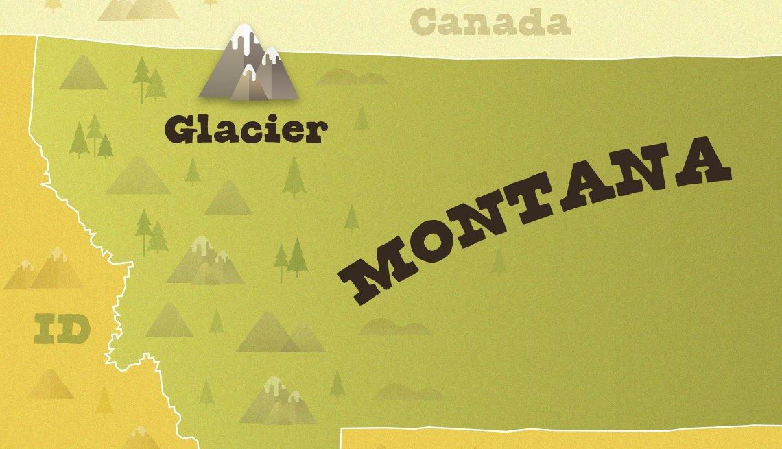 Mapa muestra dónde queda el Glacier National Park