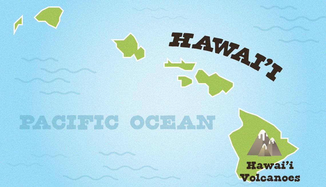 Mapa muestra la ubicación del parque Hawaii Volcanoes National Park