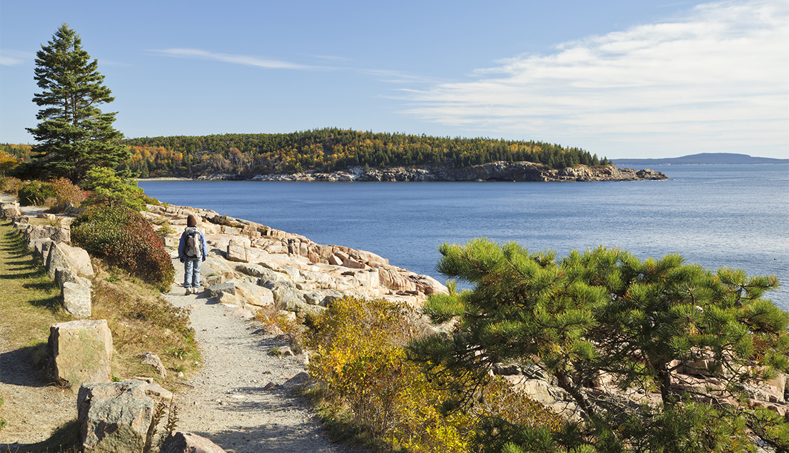 item 4 of Gallery image - A person walking on Ocean Path in Acadia National Park