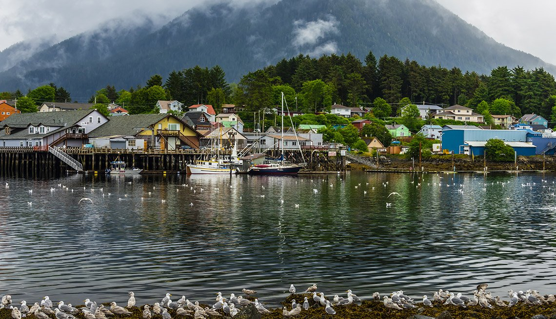 a wide angle view of the harbor in Sitka, southeast Alaska