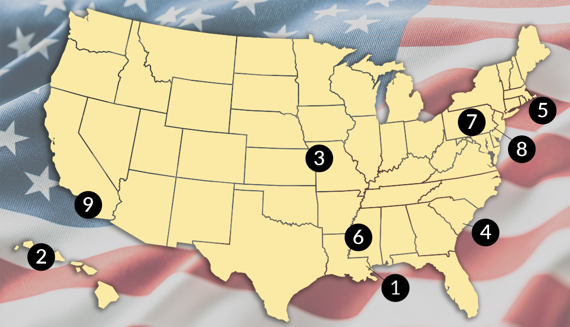 map of the united states showing locations of military museums