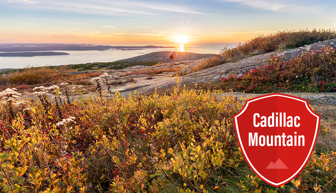 item 2 of Gallery image - sunrise viewed from the top of cadillac mountain with water in the distance