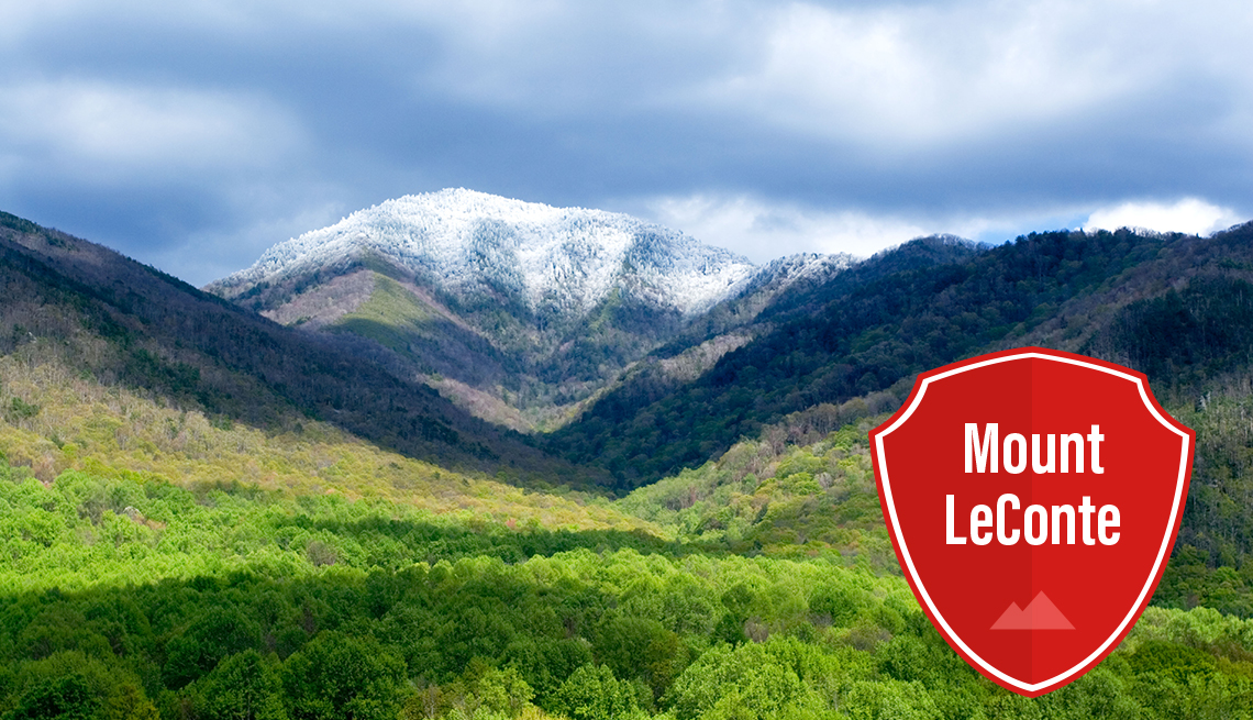 item 4 of Gallery image - mount leconte covered in snow rising above a valley of trees in great smoky mountain park