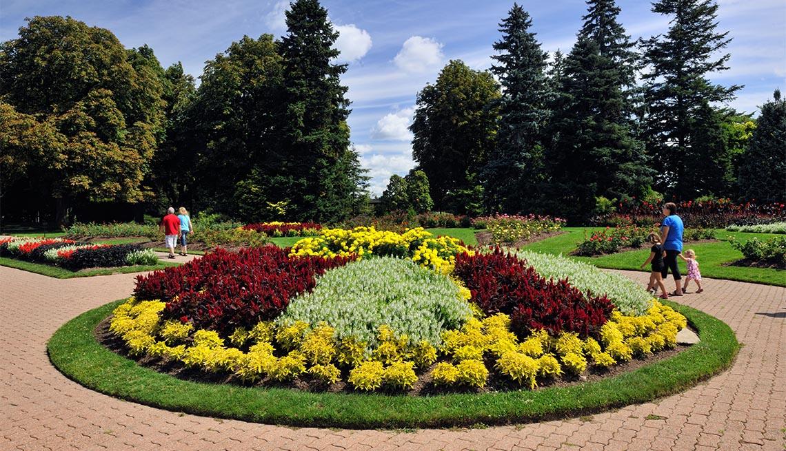 Flower beds in the Niagara Botanical Garden- Rose Garden area Niagara Falls Ontario Canada
