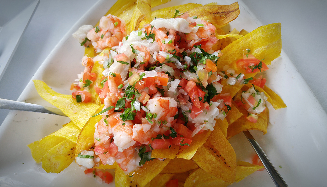 ceviche and plaintain chips