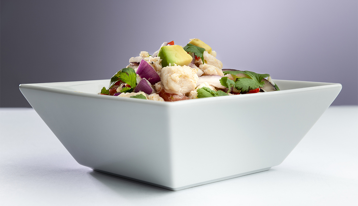 item 2 of Gallery image - Traditional Peruvian ceviche seafood with vegetables and lime