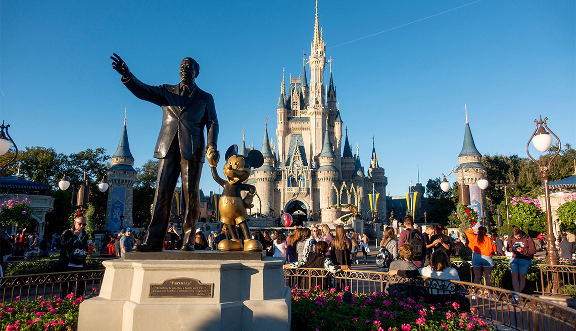 Walt Disney and Mickey Mouse statue in front of Cinderella's Castle in Orlando, Florida