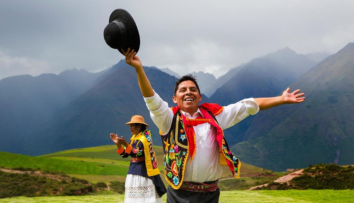 Traditional Inca Dancers in costume, Inca terraces of Moray, Cusco Region, Captivating Peru: Inca Trails, Beaches and Gastronomy