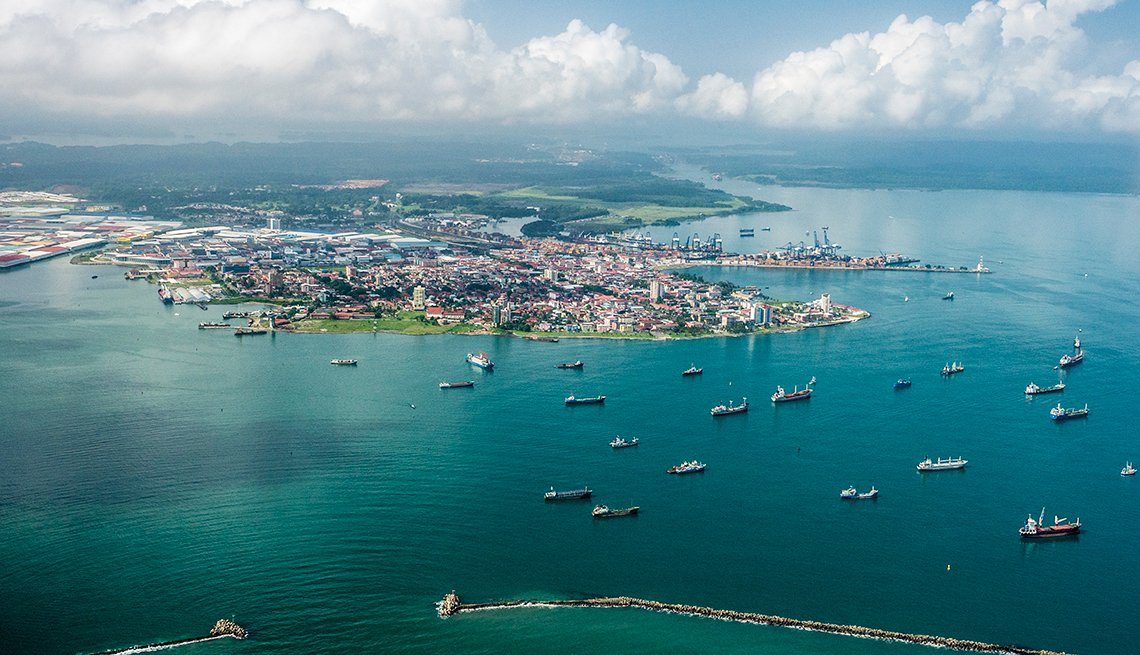Aerial, view, the, Port of Colon