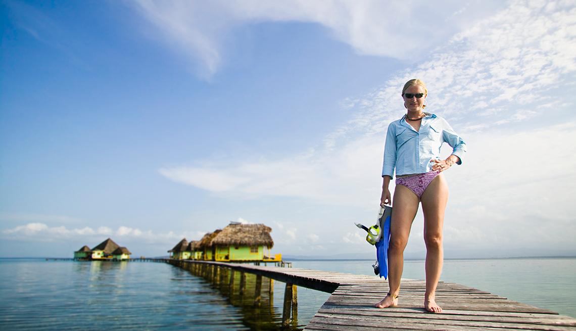 Woman, with, snorkel, gear, in, Bocas del Toro