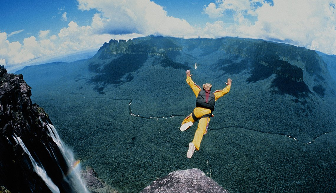 Skydiver Leaps Off Cliff By Angel Falls In Venezuela, Best International Waterfalls