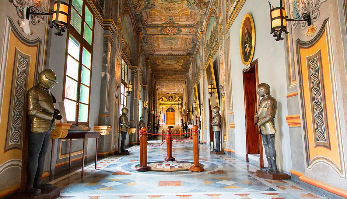 Hallways In The Grandmaster's Palace In Valleta Malta, Island Getaways