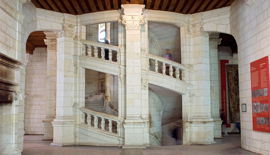 Spiral Staircase At The Chateau De Chambord In France, Great Staircases